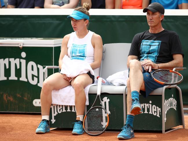 Simona Halep and coach Darren Cahill take a break in Paris.