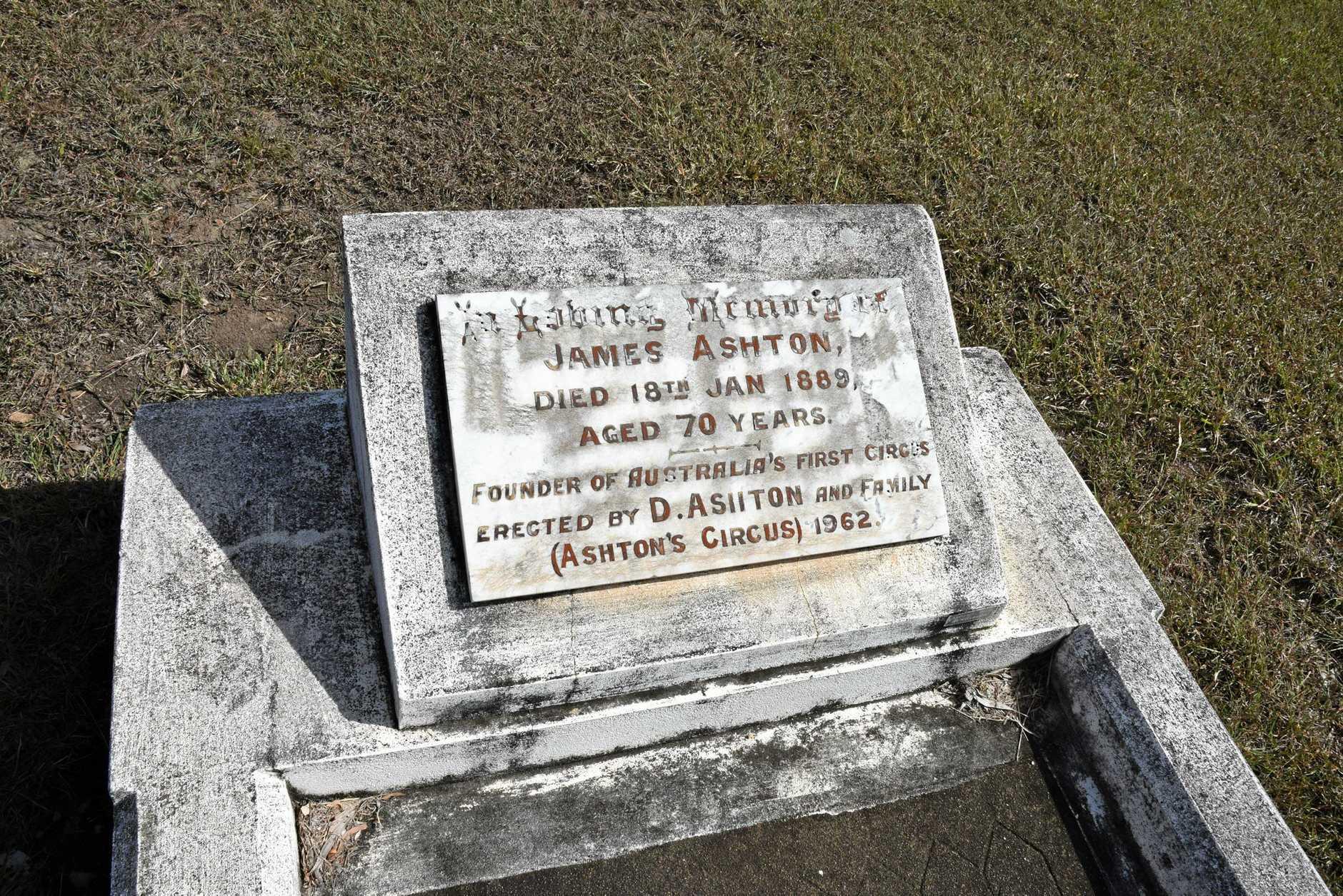 FINAL ROLL UP: Grave of Ashton Circus founder, James Ashton, in Gladstone Cemetery.