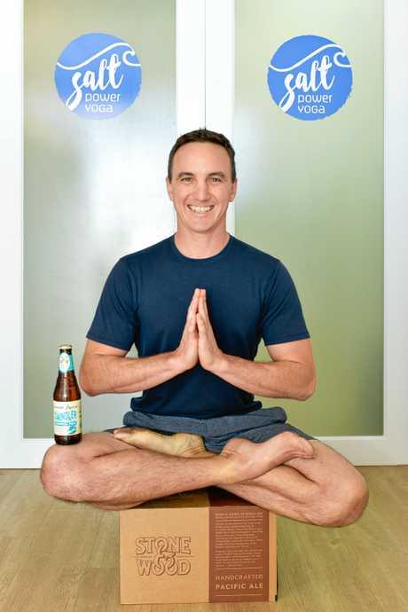 YOGA guru Paul Charalambous.Beer and Yoga gets blokes balances.