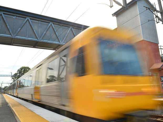 A train arrives at Landsborough station en-route to brisbane.