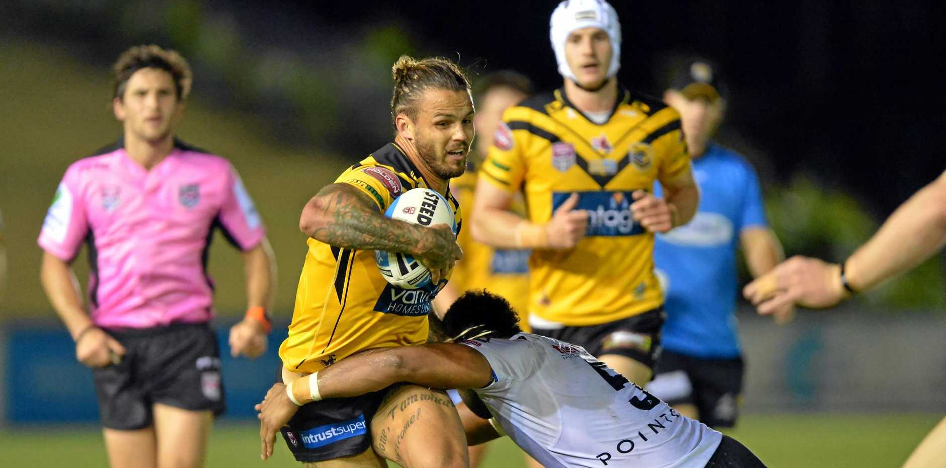 RUNNING HARD: Sandor Earl in action for the Falcons at Sunshine Coast Stadium.