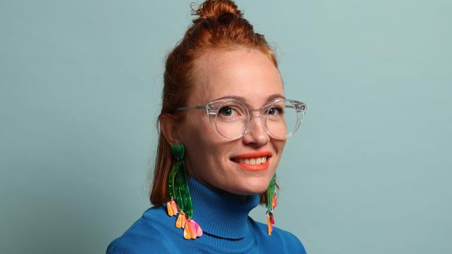 Brisbane-based Concrete Jellyfish designer Rene Skelton  makes bold resin earrings. Picture: Liam Kidston.