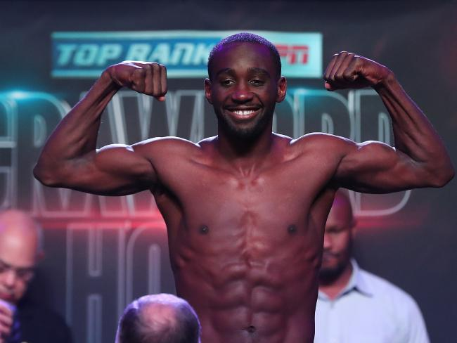 Terence Crawford made weight ahead of his fight with Jeff Horn. Pic Peter Wallis