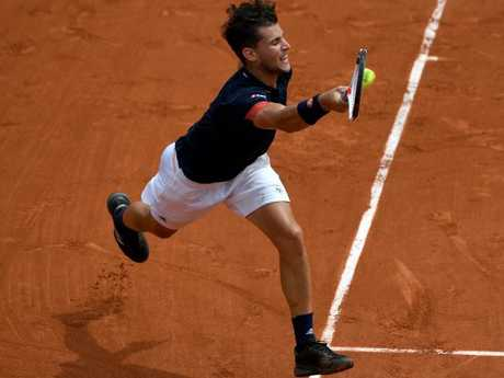 Austria's Dominic Thiem played Italy's Marco Cecchinato during their men's singles semi-final match on day thirteen of the French Open. Picture: AFP Photo