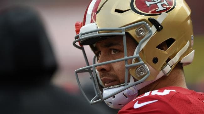 Hayne looks on from the sidelines during a match against the St Louis Rams at Levi's Stadium on January 3, 2016. Picture: Thearon W. Henderson/Getty Images