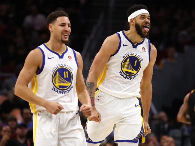 Klay Thompson (L) and JaVale McGee (R) start celebrations midway through the third quarter. Pic: Getty