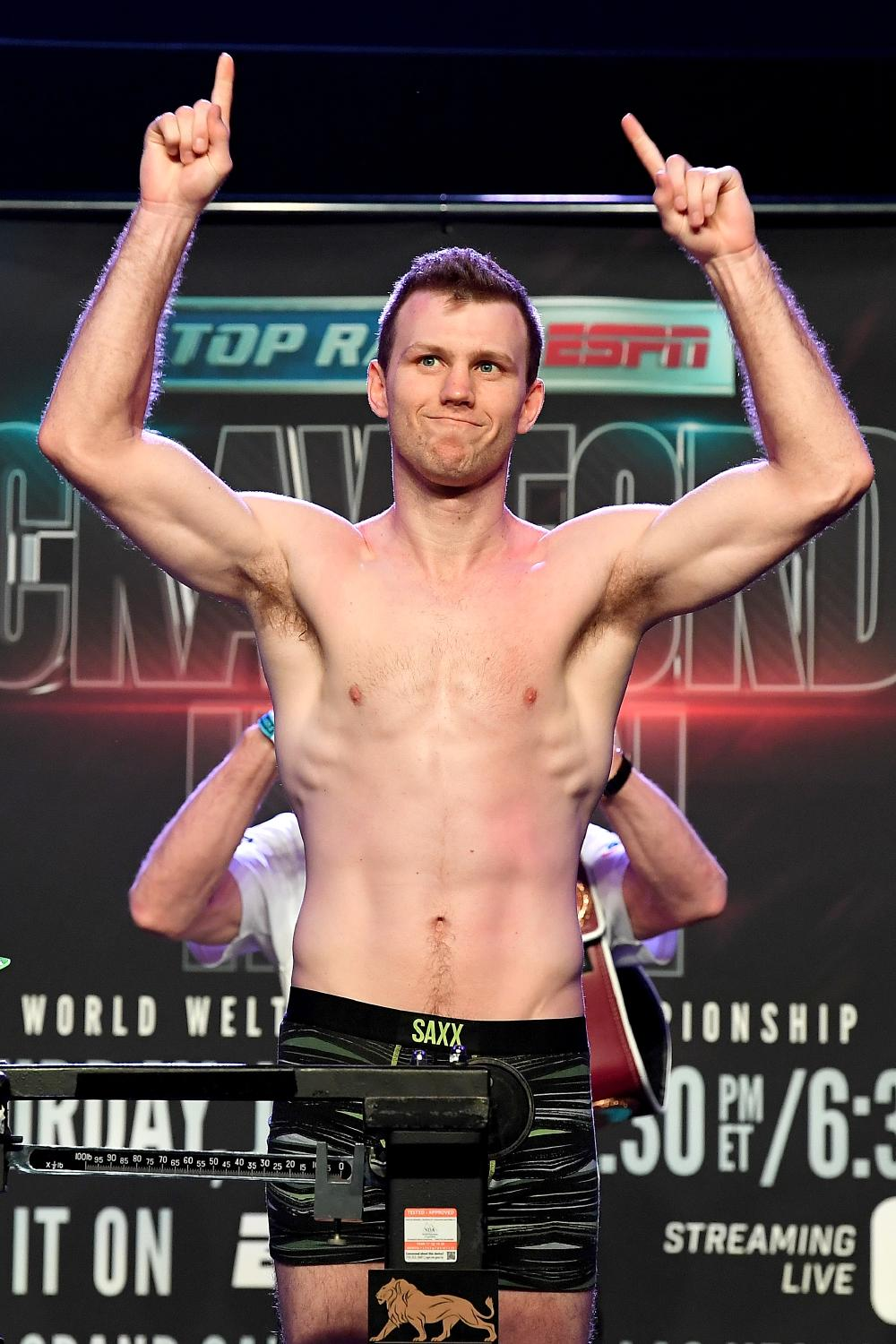Jeff Horn finally makes weight yesterday. Picture: Bradley Kanaris/Getty Images