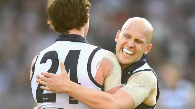 Gary Ablett celebrates a goal with teammate Jed Bews, Picture: Getty Images