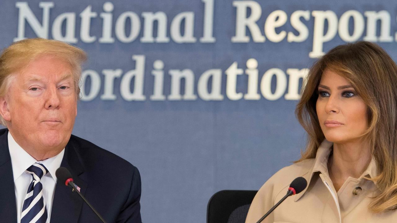 First Lady Melania Trump made her first public appearance since her mystery operation on Wednesday when she visited the Federal Emergency Management Agency Headquarters. Picture: AFP Photo/Jim Watson