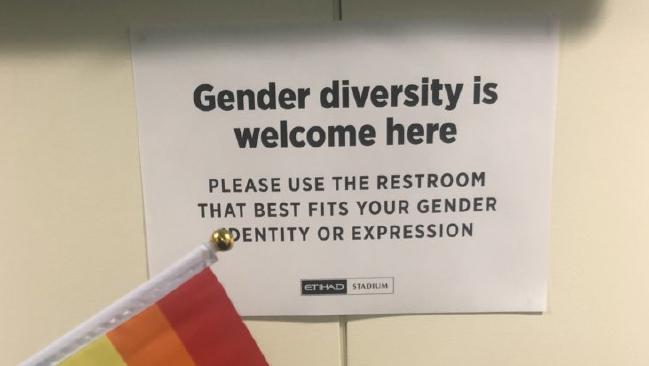 Etihad Stadium sign identifying a toilet as gender diverse