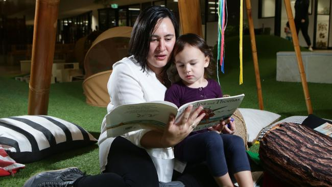 Nichole Chung with her daughter Milla Seaniger, 3, at a Goodstart centre in Brisbane. Picture: Ric Frearson/AAP
