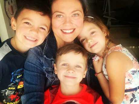 Amanda Nauffts with her young children.