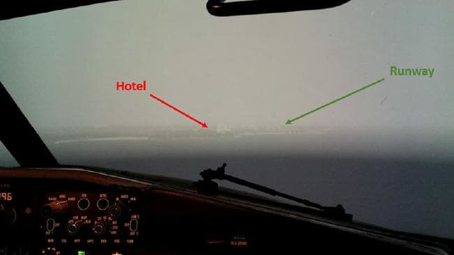 The WestJet plane came close to the water. Picture: Transportation Safety Board of Canada