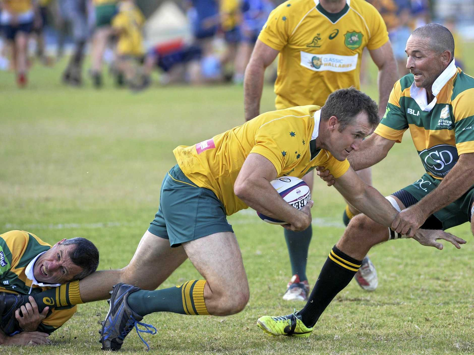 Scott Barton of Classic Wallabies against Darling Downs Over 35s Barbarians at Gold Park, Sunday, June 10, 2018.