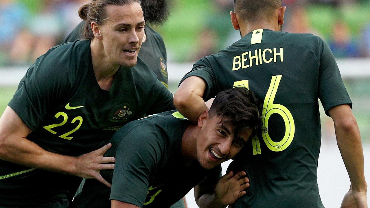 Daniel Arzani celebrates scoring a goal.