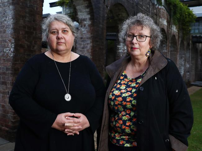 Kate (left) and Rozanna Lilley who say their famous mother failed to protect them from sexual predators on the arts scene. Picture: John Feder.