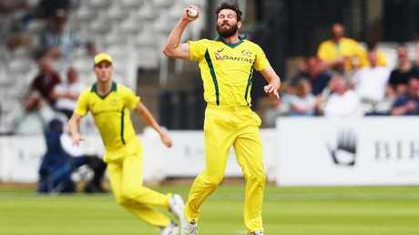 Michael Neser of Australia catches the ball to dismiss Nick Gubbins.