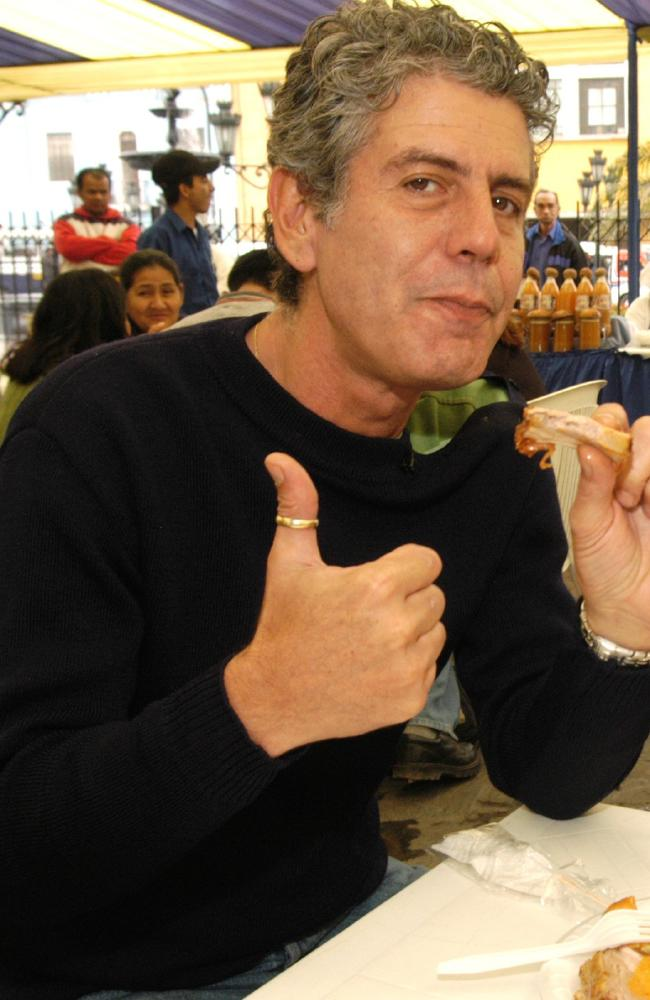 Anthony Bourdain in a scene from his former show, No Reservations.