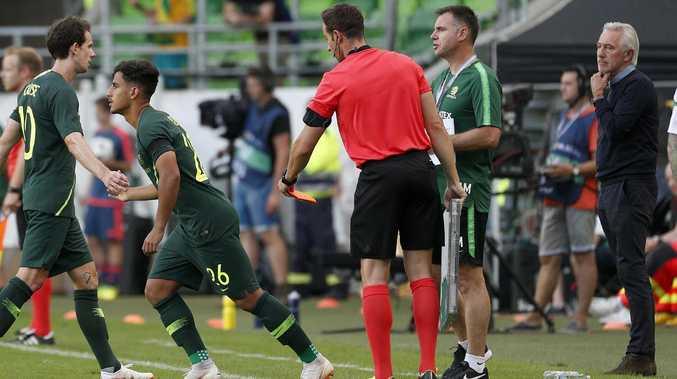 Socceroos coach Bert van Marwijk is close to settling on a final XI. Pic: Toby Zerna
