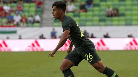 Daniel Arzani scores a goal for Australia during the Socceroos v Hungary friendly.
