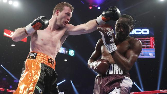 Jeff Horn misses against Terence Crawford. Pic: Peter Wallis