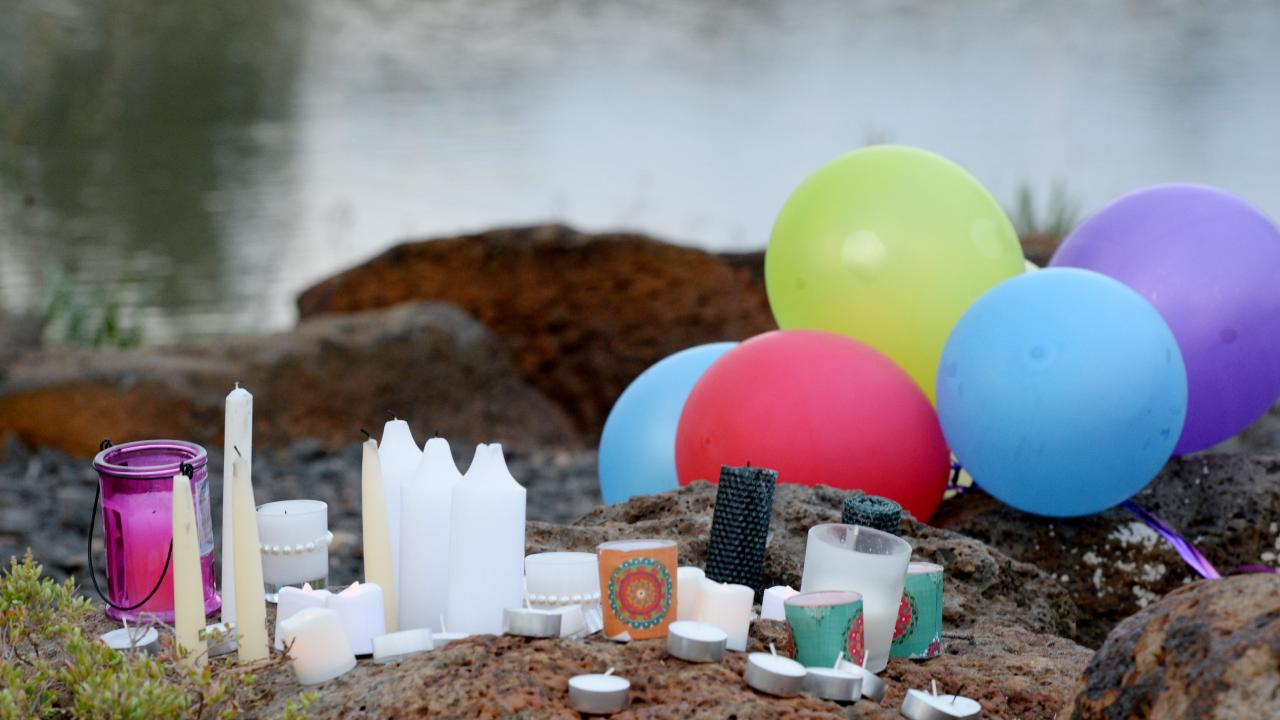 Memorial for the kids who died when their car went into the lake. Picture: Kris Reichl