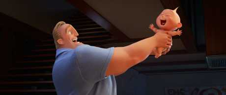 The characters Bob (Craig T Nelson) and Jack-Jack in a scene from Incredibles 2.