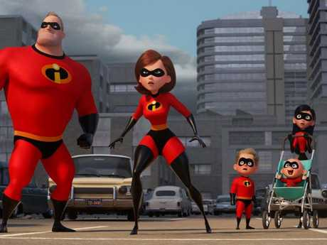 The Parrs are back in action in scene from the movie Incredibles 2.