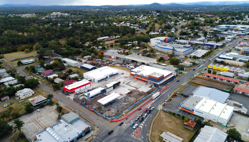 Aerial view of the One Mile Hotel site on the corner of Brisbane Street and Hooper Street in West Ipswich. The site will home a service station, Anaconda, and various other stores.