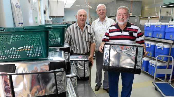 WORTHY PURSUIT: Tyrian Masonic Lodge master Mal Finnis and treasurer Tom Barnes presented Meals on Wheels president Peter Donghi with donations of Eskies back in 2014, the service is still going strong but now needs a donation of volunteers.