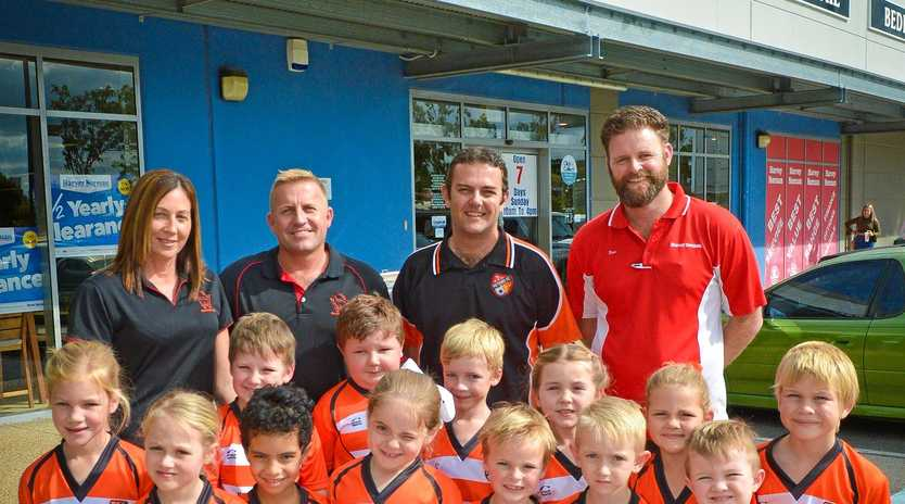 GOAL: The junior players from Meteors were pleased to receive their named uniforms on Saturday.