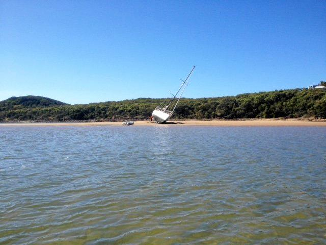 A 36 foot yacht ran aground at the entrance to Round Hill Creek, Seventeen Seventy on June 9, despite the high tide.