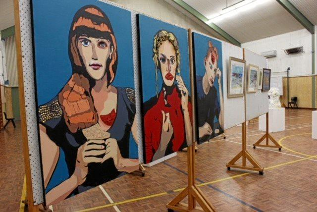 Some of the artworks at the Go Art Exhibition.
