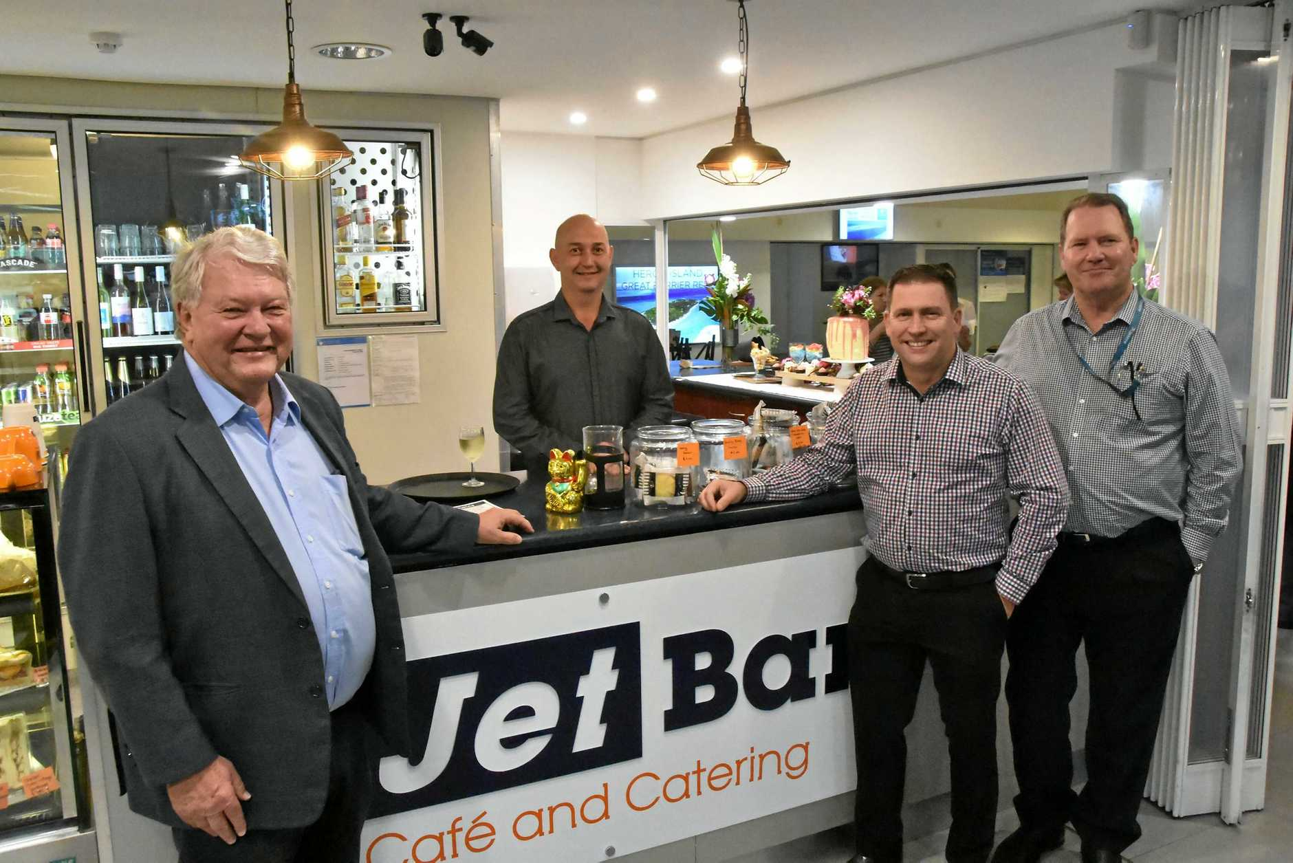 Member for Flynn Ken O'Dowd, The Jet Bar owner Shaun Cooper, Gladstone Region mayor Matt Burnett and Gladstone Airport Corporation CEO Colin Fort at the official opening of The Jet Bar on June 11.