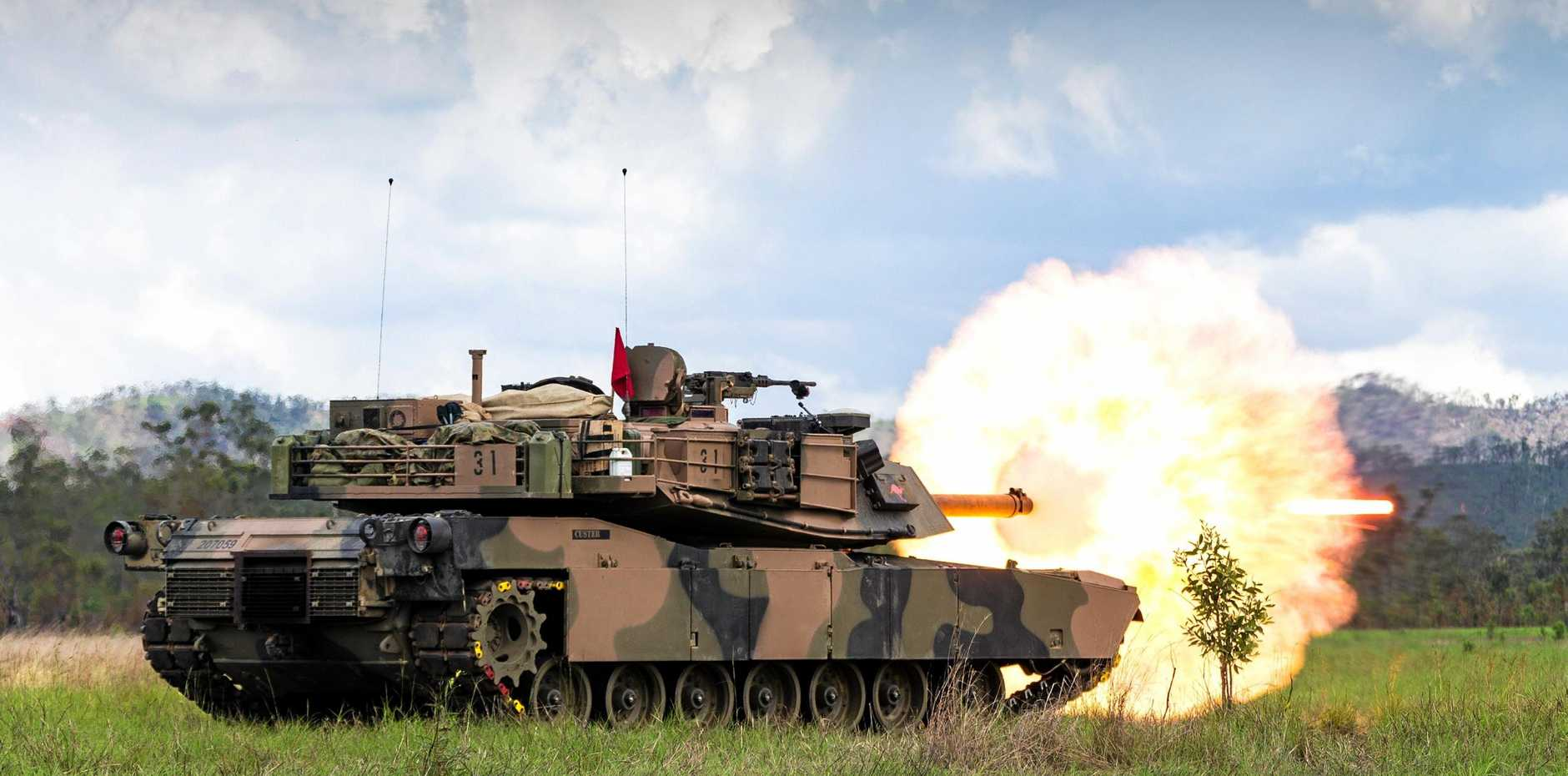 7th Combat Brigade fires its main gun during a live fire practice at Shoalwater Bay Training Area in 2017.