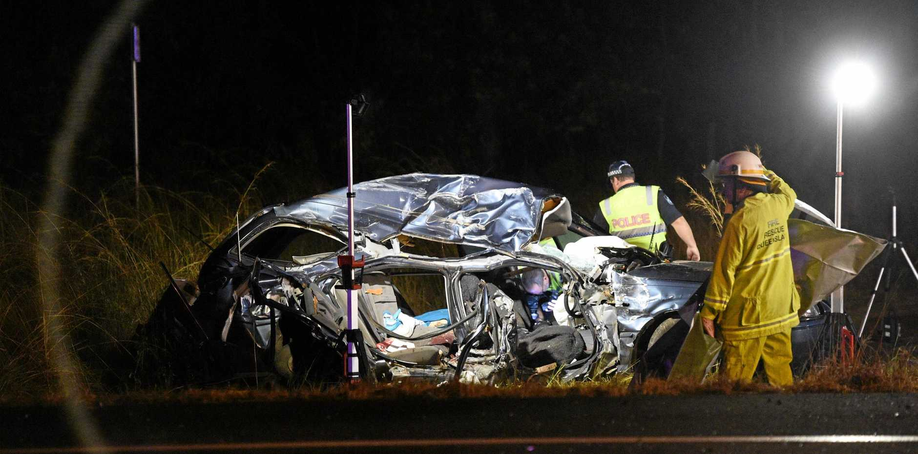 FATAL: The mangled wreck of Bundy woman Cheree Vowles's car after Sunday's crash, in which she lost her life.