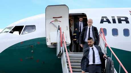 The Socceroos arrive in Kazan.