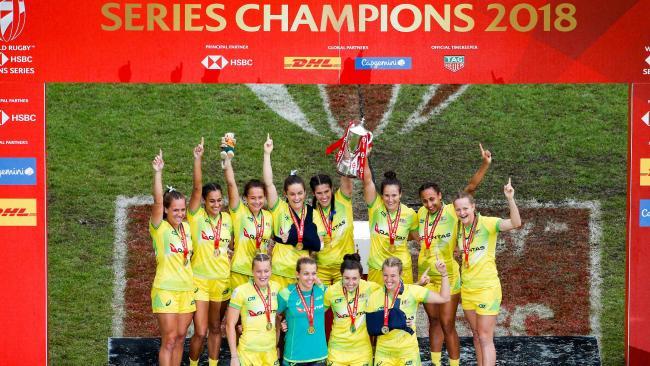 Australia celebrate winning the sevens world series in Paris.