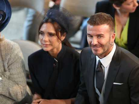 David and Victoria were together at Prince Harry's wedding to Meghan Markle last month. Picture: MEGA
