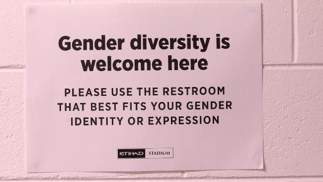 Gender Diversity sign on toilet doors at Etihad Stadium. Pic: Michael Klein