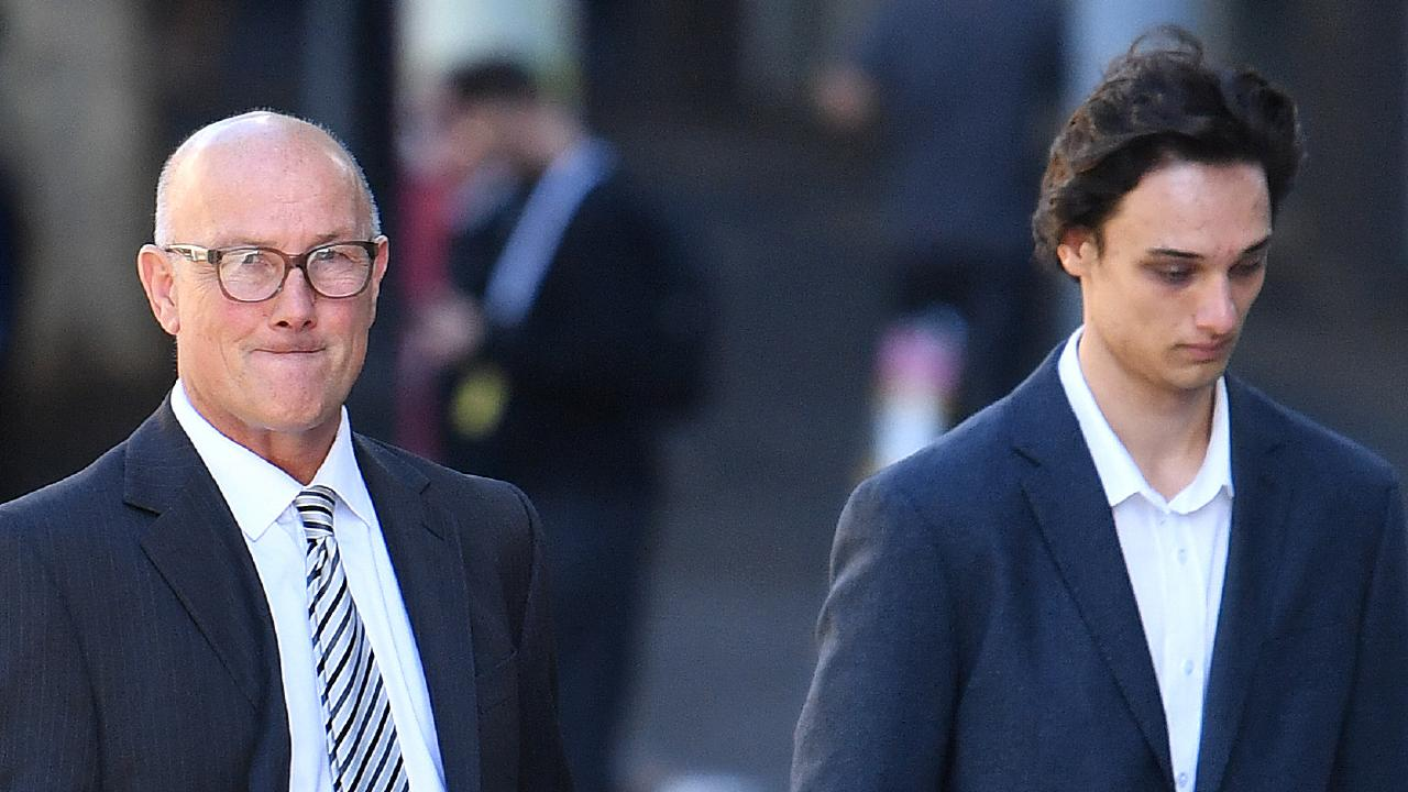 David and Lachlan Pirie arriving at the District Court in Brisbane this morning. Picture: Darren England/AAP