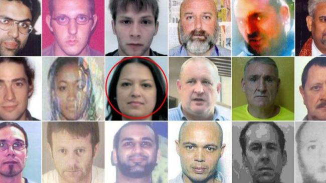 Adriana Barton (circled) was horrified when her photo appeared among mugshots of the world's most depraved criminals. Picture: SWNS/Mega