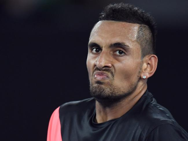 Nick Kyrgios quickly returned serve against Dawn Fraser.