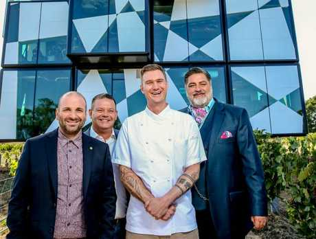 The Cube chef Brendan Wessels witih  George Calombaris, Gary Mehigan and Matt Preston.