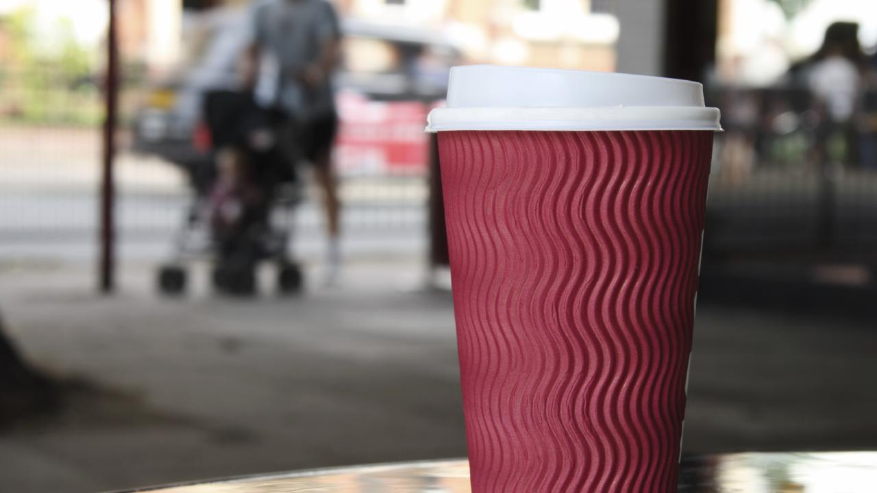 Disposable coffee cup lids and the paper are recyclable. However the lining inside isn't and that means that the cups go to landfill unless recycled in a specialist processors. Picture: Thinkstock