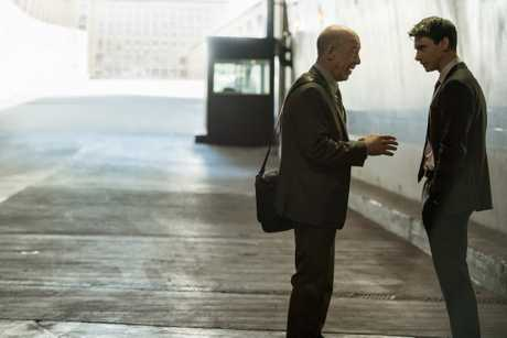 JK Simmons and Harry Lloyd in a scene from Counterpart.