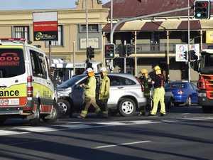 Two-vehicle crash on busy Toowoomba street