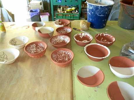 Some of the glazed pots ready to be fired created by Maitlia Potters members for their annual Soup Night.