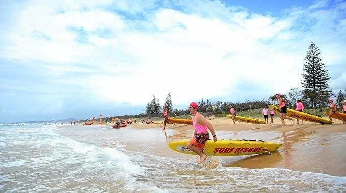 BEACH PUSH: Junior lifesaving training at Peregian Beach - locals want to see their surf club thriving next summer.