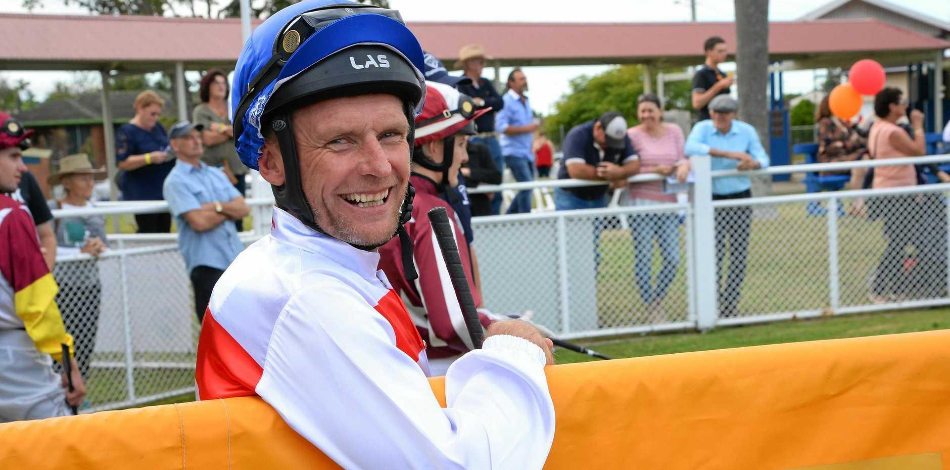 WIN GRIN: The larrikin smile of jockey Jasen Watkins is back at the track.